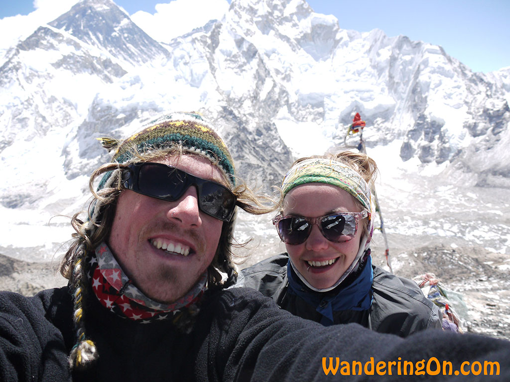 Brian and Noelle at Kala Pattar (5,555m) with Everest in the background, Nepal.