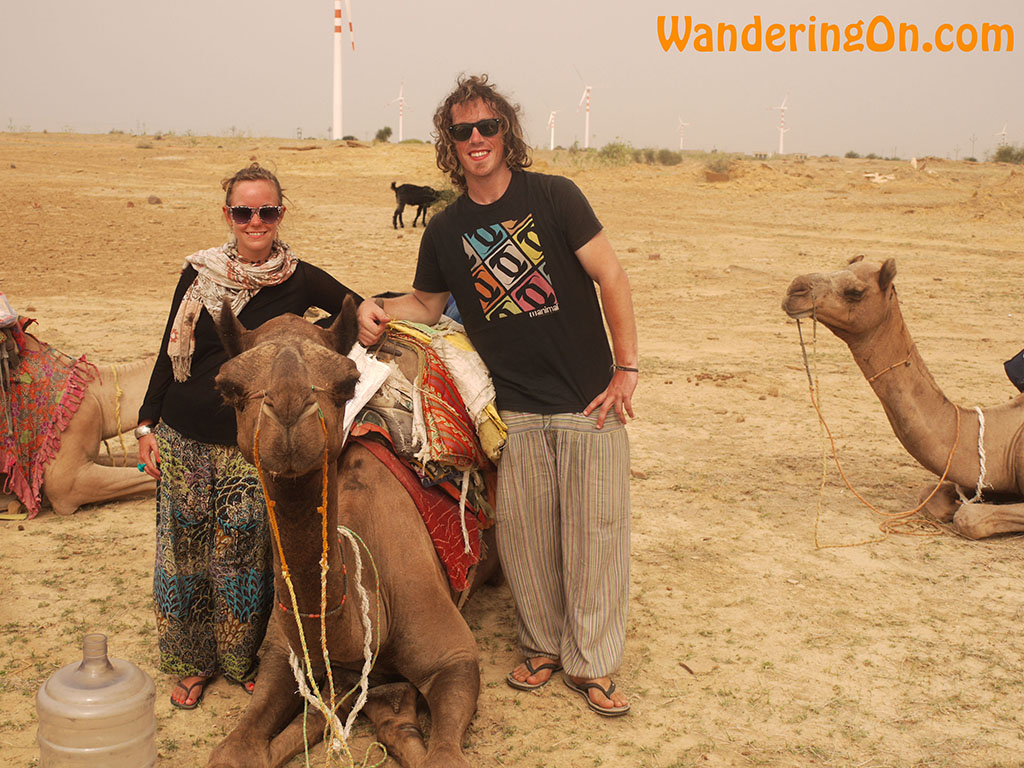 Brian and Noelle on camel safari in the Thar Desert near the India Pakistan Border, India.