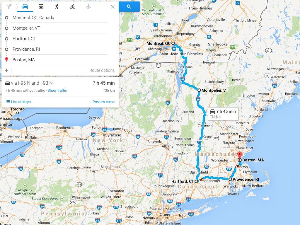 Road Trip Canada to Boston