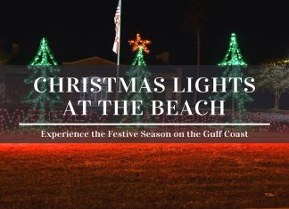 Christmas lights at the beach