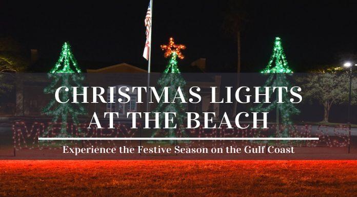 Christmas lights at the beach